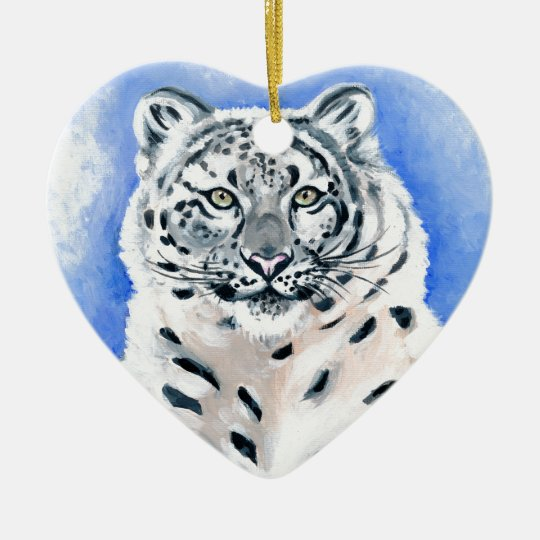 Snow Leopard Art Ceramic Heart Ornament