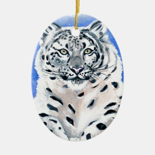 Snow Leopard Art Ceramic Oval Ornament