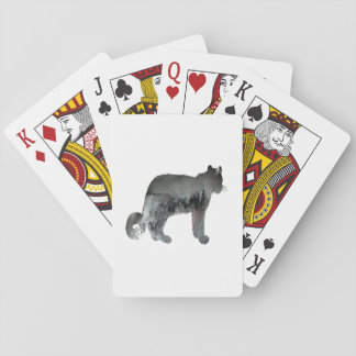 Snow leopard art playing cards