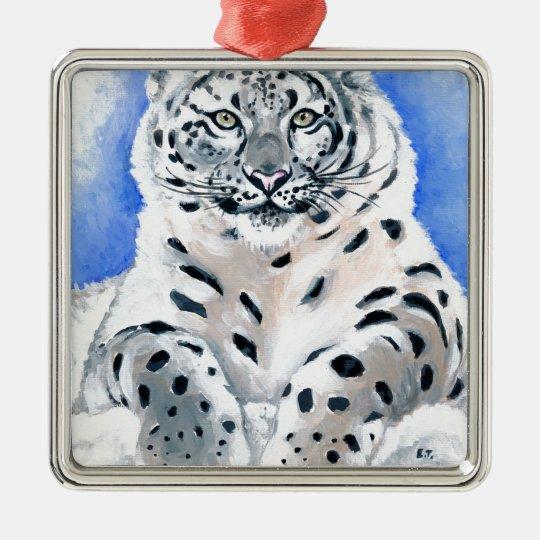 Snow Leopard Art Silver-Colored Square Ornament
