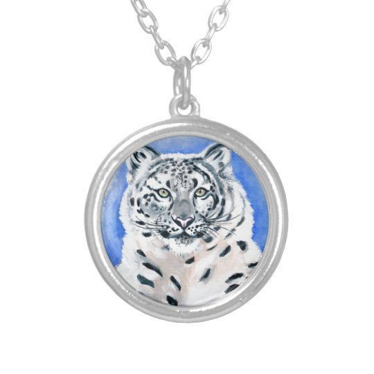 Snow Leopard Art Silver Plated Necklace