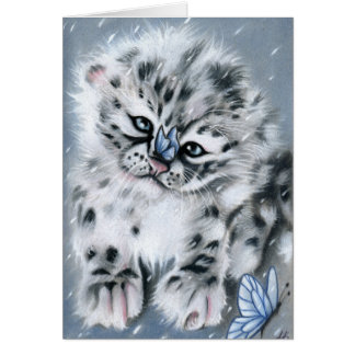 Snow leopard Baby Animal Greeting Card