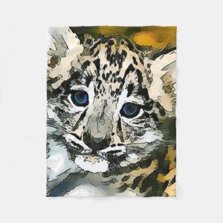 Snow Leopard Baby Watercolor Art Fleece Blanket