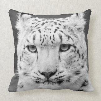 Snow Leopard Black and White Portrait Pillows
