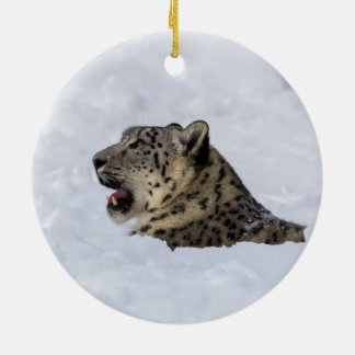 Snow Leopard Buried in Snow Ceramic Ornament