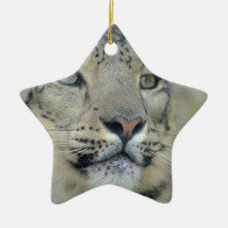snow leopard ceramic ornament
