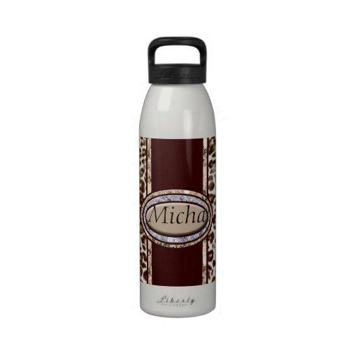 Snow Leopard Champagne Diamond Monogram Reusable Water Bottles