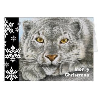Snow Leopard Christmas Card