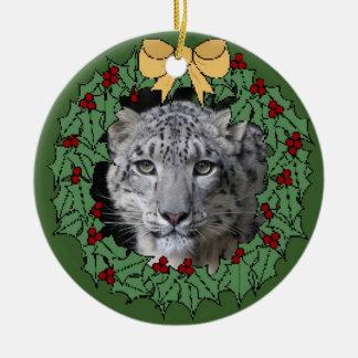 Snow Leopard Conservancy-Asha in Wreath Ceramic Ornament