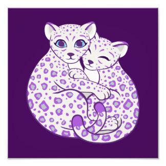 Snow Leopard Cubs Cuddling Art Photo Print