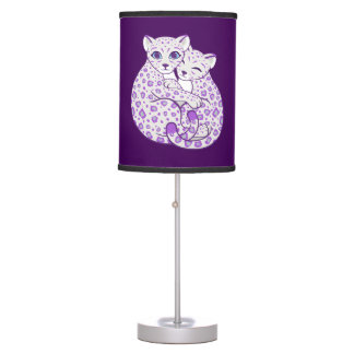 Snow Leopard Cubs Cuddling Art Table Lamp