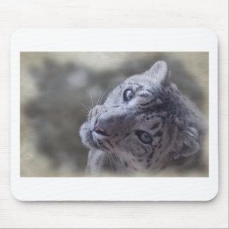 snow leopard face mousepads