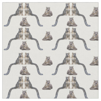 Snow Leopard Frenzy Fabric (choose colour)