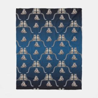 Snow Leopard Frenzy Fleece Blanket (Navy Blue Mix)