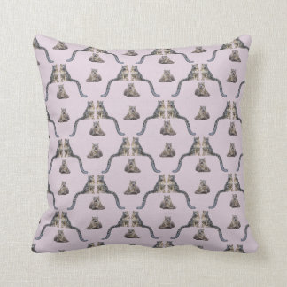 Snow Leopard Frenzy Pillow (Dusty Pink)