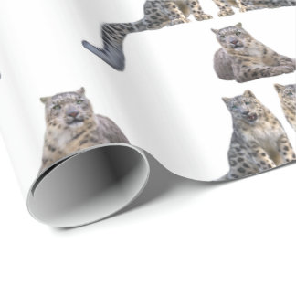 Snow Leopard Frenzy Wrapping Paper (choose colour)