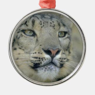 snow leopard metal ornament