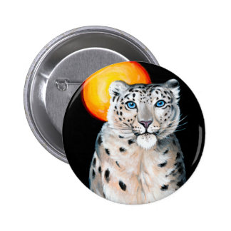 Snow Leopard Moon 2 Inch Round Button