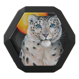 Snow Leopard Moon Black Bluetooth Speaker