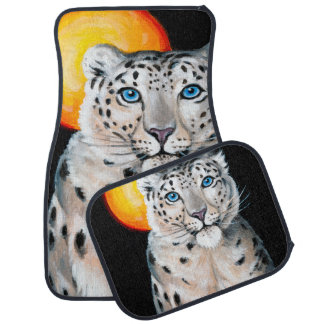 Snow Leopard Moon Car Mat