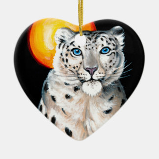 Snow Leopard Moon Ceramic Ornament