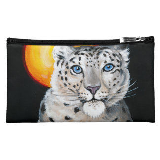Snow Leopard Moon Cosmetics Bags