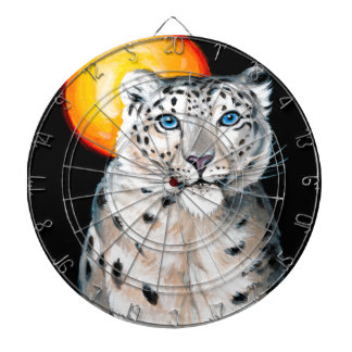 Snow Leopard Moon Dartboard