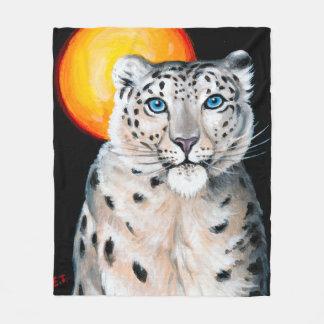 Snow Leopard Moon Fleece Blanket