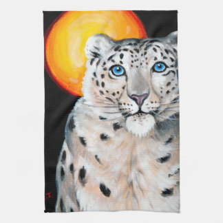 Snow Leopard Moon Kitchen Towel