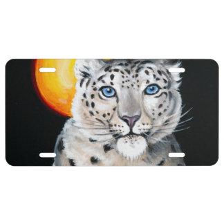 Snow Leopard Moon License Plate