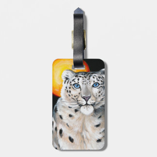 Snow Leopard Moon Luggage Tag