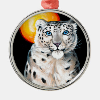 Snow Leopard Moon Metal Ornament