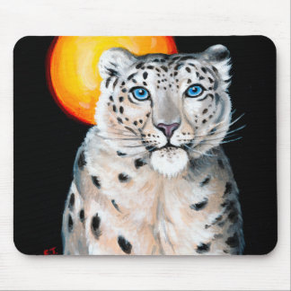 Snow Leopard Moon Mouse Pad