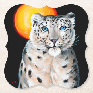 Snow Leopard Moon Paper Coaster