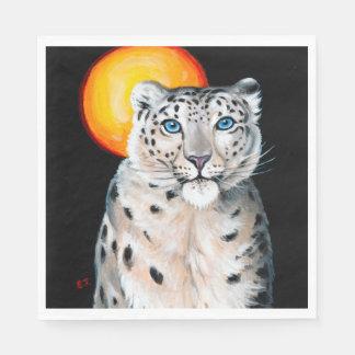 Snow Leopard Moon Paper Napkin