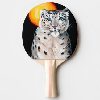 Snow Leopard Moon Ping Pong Paddle