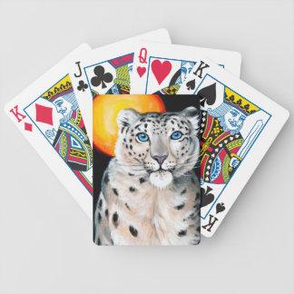 Snow Leopard Moon Poker Deck