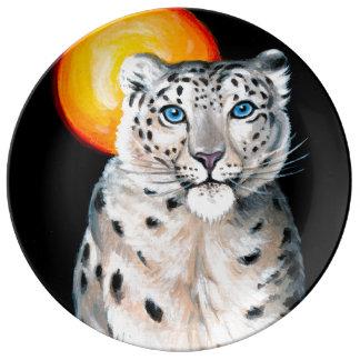 Snow Leopard Moon Porcelain Plates