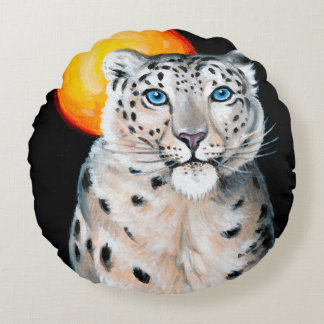 Snow Leopard Moon Round Pillow