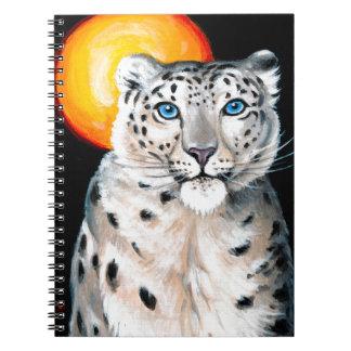 Snow Leopard Moon Spiral Notebook