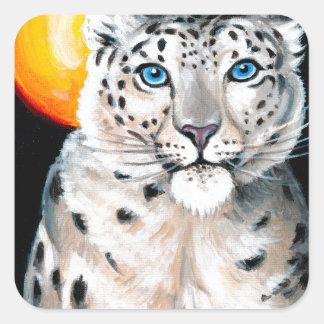 Snow Leopard Moon Square Sticker
