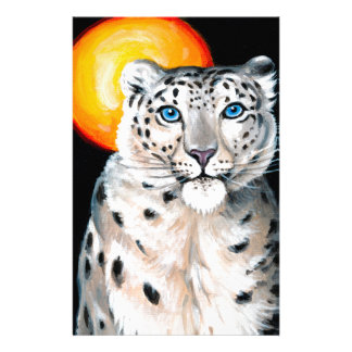 Snow Leopard Moon Stationery