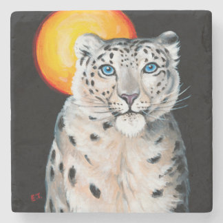 Snow Leopard Moon Stone Coaster