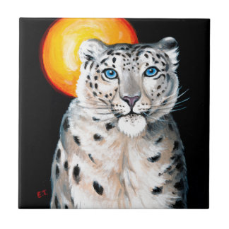 Snow Leopard Moon Tile