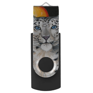 Snow Leopard Moon USB Flash Drive
