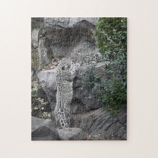 Snow Leopard Mother and Cub Jigsaw Puzzle