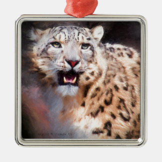 Snow Leopard Painting Silver-Colored Square Ornament