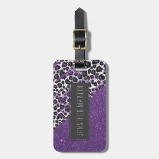 Snow Leopard Print Brushstrokes on Faux Glitter Luggage Tag