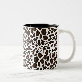 Snow Leopard Print Two-Tone Coffee Mug