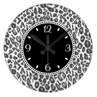 Snow Leopard Print Wall Clock